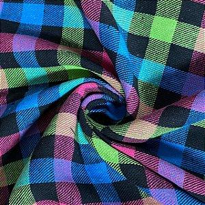 Flanela Xadrez Azul Roxo Verde