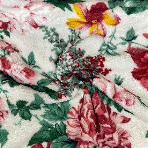Mantinha Fleece Estampada Floral Colorida