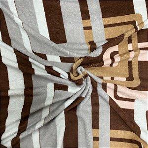 Mantinha Fleece Estampada Marrom