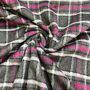 Lã Tweed Xadrez com Rosa