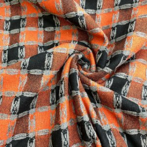 Lã Tweed Xadrez Laranja