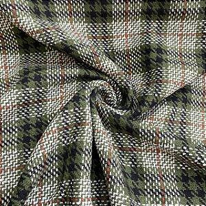 Lã Tweed Xadrez Verde