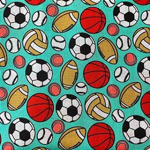 Tricoline Estampada Bolas Esportivas
