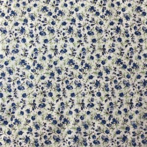 Tricoline Estampada Flor Azul Pequena