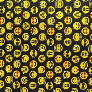 Tricoline Estampada Emojis Fundo Preto