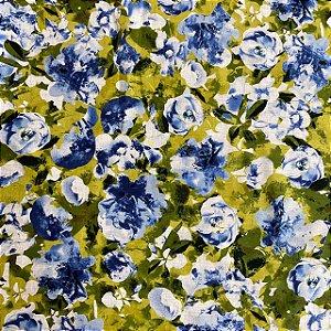 Cambraia Estampada Floral Fundo Verde