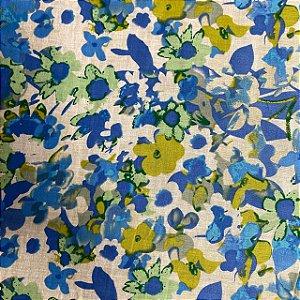 Cambraia Estampada Pincel Azul