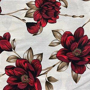 Gorgurão Floral Vermelho e Preto