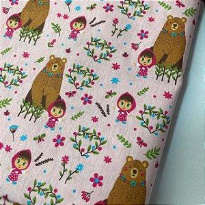 Tricoline Estampada Menina e o Urso