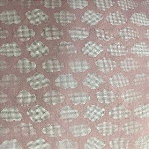 Tricoline Estampada Nuvens Rosa