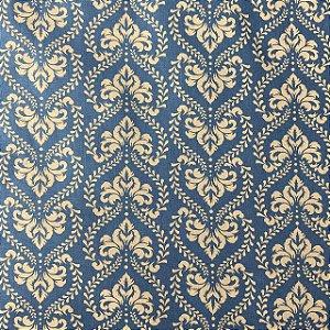 Tricoline Estampada Ornamentada Azul