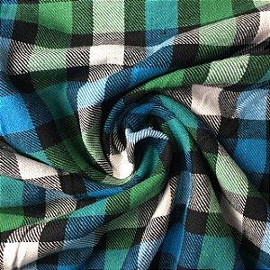 Flanela Xadrez Verde e Azul