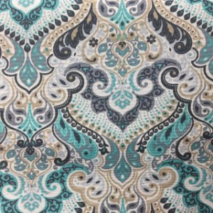 Gorgurão Belize Estampado Ornamentado Azul