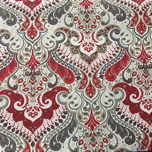 Gorgurão Belize Estampado Ornamentado Vermelho