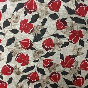 Gorgurão Belize Estampado Tulipa Vermelha