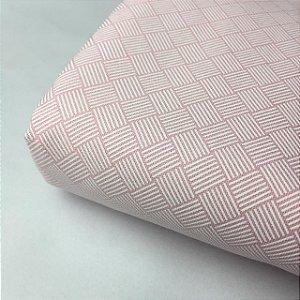 Tricoline Estampada Seis Linhas Rosa