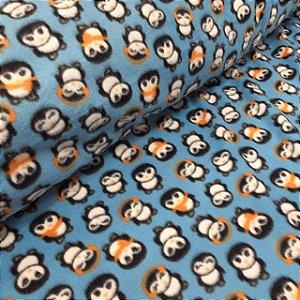 Soft Estampado Pinguim Fundo Azul