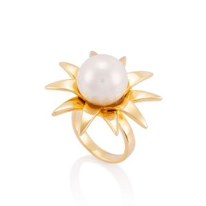 Anel 264 Ouro Shell Branca