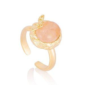 Anel Biba 419 Ouro Quartzo Rosa