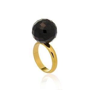 Anel Bubbles Ouro Quartzo Negro