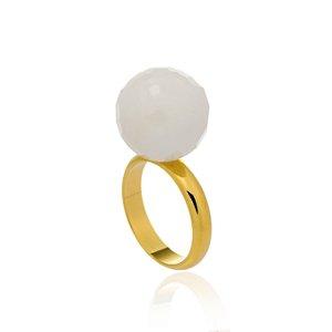 Anel Bubbles Ouro Quartzo Branco