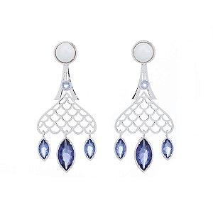 Brinco Burlesque 712 Ródio Shell Branca Cristal Azul