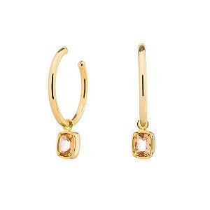 Brinco Burlesque 705 Ouro Cristal Rosa