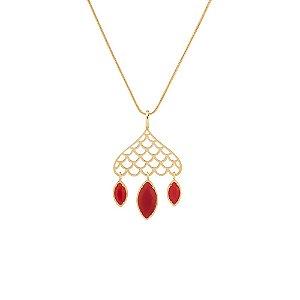 Pingente Burlesque 255 Ouro Cristal Vermelho
