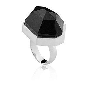 Anel 301 Ródio Quartzo Negro