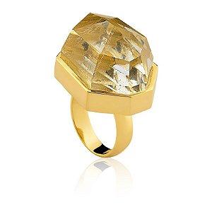 Anel AD 301 Ouro Quartzo Incolor