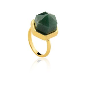 Anel AD 302 Ouro Quartzo Verde