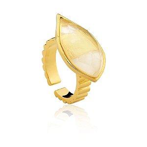 Anel Cuba 293 Ouro Quartzo Incolor