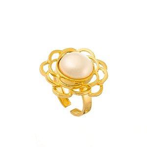 Anel Burlesque 322 Ouro Shell Branca