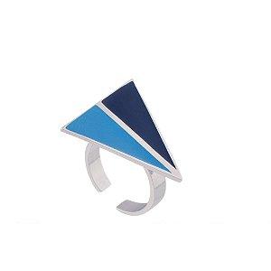 Anel Cobogó 334 Ródio Resina Azul