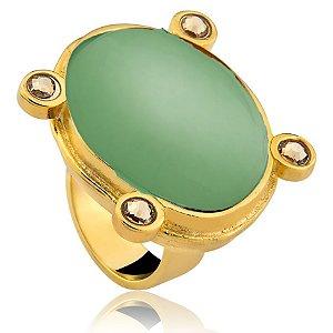 Anel 275 Ouro Quartzo Verde