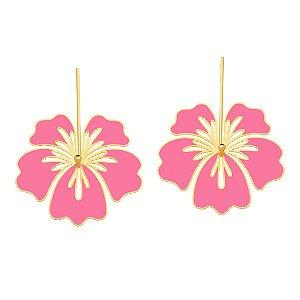Brinco Misticismo Tropical 692 Ouro Hibisco Resina Pink