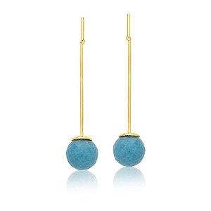 Brinco Bubbles 672 Ouro Quartzo Azul