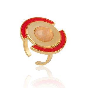 Anel Delaunay Ouro Quartzo Rosa Resina Vermelha