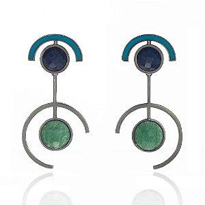 Brinco Delaunay 801 Ródio Negro Quartzo Verde Sodalita Resina Azul