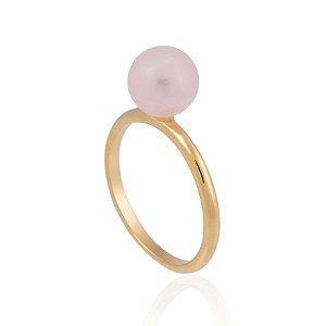 Anel Bubbles Candy Ouro Quartzo Rosa