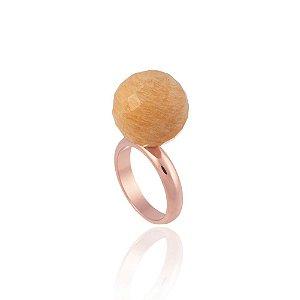 Anel Bubbles Ouro Rosé Amazonita Nude