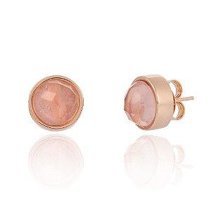 Brinco Bubbles 691 Ouro Rosé Quartzo Rosa