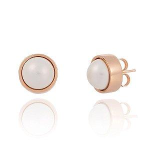 Brinco Bubbles 691 Ouro Rosé Shell Branca