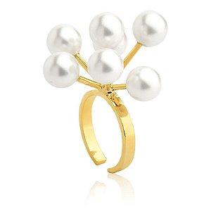 Anel Bubbles Deserto 382 Ouro Shell Branca