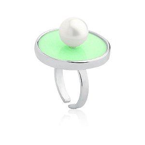 Anel Deserto 383 Ródio Acrílico Verde Shell Branca