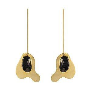 Brinco Delaunay 789 Ouro com Quartzo Negro