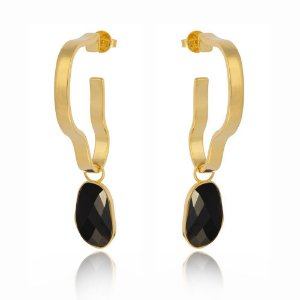Brinco Delaunay 790 Ouro com Quartzo Negro