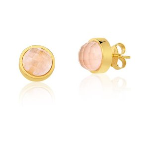 Brinco Baby Bubbles 691 Ouro Quartzo Rosa