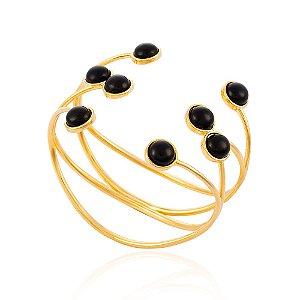 Bracelete Essencial 282 Ouro Quartzo Negro