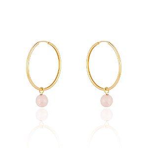 Brinco Essencial 29 Pequeno Ouro Quartzo Rosa